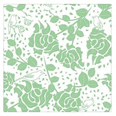 Floral Wallpaper Green Large Satin Scarf (Square)