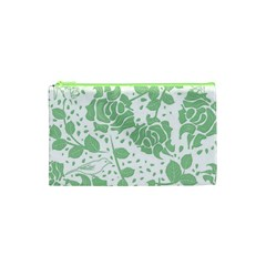 Floral Wallpaper Green Cosmetic Bag (XS)