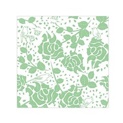 Floral Wallpaper Green Small Satin Scarf (Square)