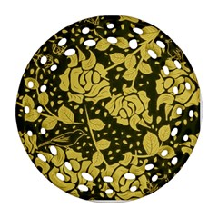 Floral Wallpaper Forest Round Filigree Ornament (2side)