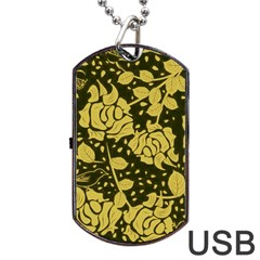 Floral Wallpaper Forest Dog Tag USB Flash (One Side)