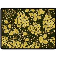 Floral Wallpaper Forest Double Sided Fleece Blanket (large)