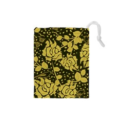 Floral Wallpaper Forest Drawstring Pouches (Small)