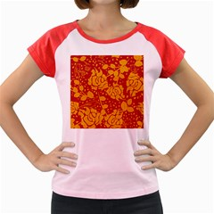Floral Wallpaper Hot Red Women s Cap Sleeve T-Shirt