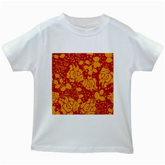 Floral Wallpaper Hot Red Kids White T Shirts