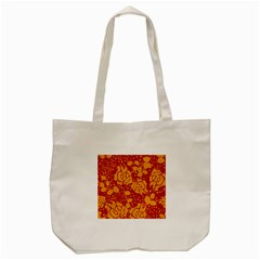Floral Wallpaper Hot Red Tote Bag (cream)