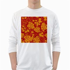 Floral Wallpaper Hot Red White Long Sleeve T Shirts