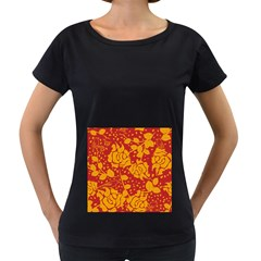 Floral Wallpaper Hot Red Women s Loose-Fit T-Shirt (Black)
