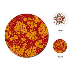Floral Wallpaper Hot Red Playing Cards (Round)