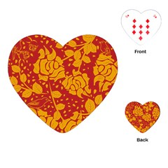 Floral Wallpaper Hot Red Playing Cards (Heart)