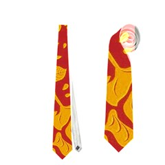 Floral Wallpaper Hot Red Neckties (one Side)