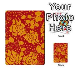 Floral Wallpaper Hot Red Multi Purpose Cards (rectangle)
