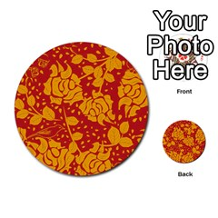 Floral Wallpaper Hot Red Multi-purpose Cards (Round)