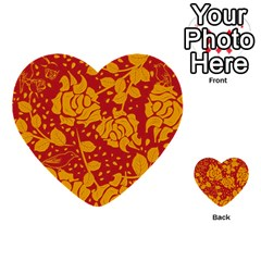 Floral Wallpaper Hot Red Multi Purpose Cards (heart)
