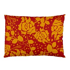 Floral Wallpaper Hot Red Pillow Cases