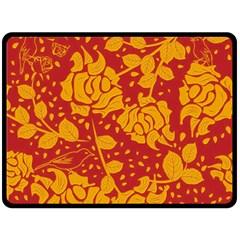 Floral Wallpaper Hot Red Fleece Blanket (Large)