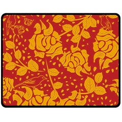 Floral Wallpaper Hot Red Fleece Blanket (Medium)
