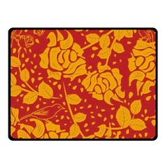Floral Wallpaper Hot Red Fleece Blanket (Small)