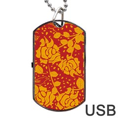 Floral Wallpaper Hot Red Dog Tag USB Flash (One Side)