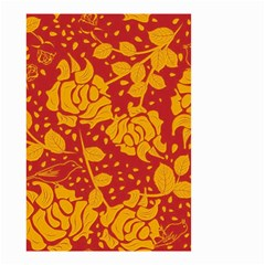 Floral Wallpaper Hot Red Small Garden Flag (Two Sides)