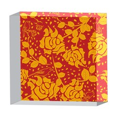 Floral Wallpaper Hot Red 5  x 5  Acrylic Photo Blocks