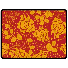 Floral Wallpaper Hot Red Double Sided Fleece Blanket (large)