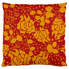 Floral Wallpaper Hot Red Large Flano Cushion Cases (two Sides)