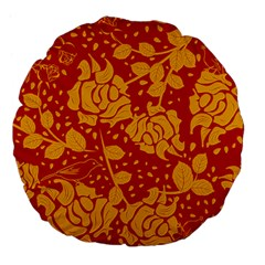 Floral Wallpaper Hot Red Large 18  Premium Flano Round Cushions