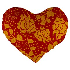 Floral Wallpaper Hot Red Large 19  Premium Flano Heart Shape Cushions
