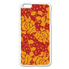 Floral Wallpaper Hot Red Apple Iphone 6 Plus Enamel White Case