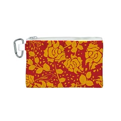 Floral Wallpaper Hot Red Canvas Cosmetic Bag (S)