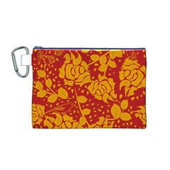 Floral Wallpaper Hot Red Canvas Cosmetic Bag (M)