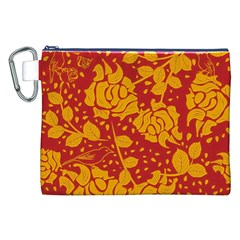 Floral Wallpaper Hot Red Canvas Cosmetic Bag (XXL)