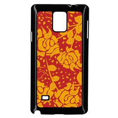 Floral Wallpaper Hot Red Samsung Galaxy Note 4 Case (Black)