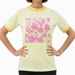 Floral Wallpaper Pink Women s Fitted Ringer T-Shirts