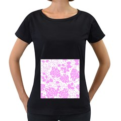 Floral Wallpaper Pink Women s Loose-Fit T-Shirt (Black)