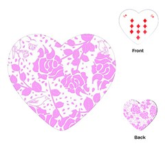Floral Wallpaper Pink Playing Cards (heart)