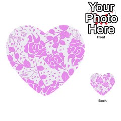 Floral Wallpaper Pink Multi Purpose Cards (heart)