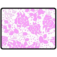 Floral Wallpaper Pink Fleece Blanket (Large)