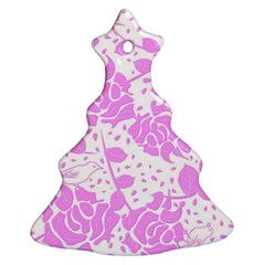 Floral Wallpaper Pink Christmas Tree Ornament (2 Sides)
