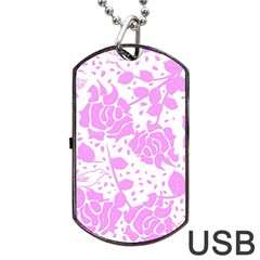 Floral Wallpaper Pink Dog Tag USB Flash (Two Sides)
