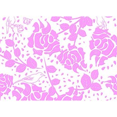 Floral Wallpaper Pink Birthday Cake 3D Greeting Card (7x5)