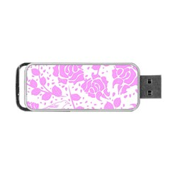 Floral Wallpaper Pink Portable Usb Flash (one Side)