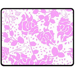 Floral Wallpaper Pink Double Sided Fleece Blanket (Medium)