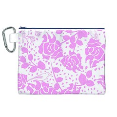 Floral Wallpaper Pink Canvas Cosmetic Bag (xl)