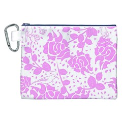 Floral Wallpaper Pink Canvas Cosmetic Bag (XXL)