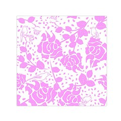 Floral Wallpaper Pink Small Satin Scarf (Square)
