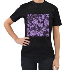 Floral Wallpaper Purple Women s T Shirt (black) (two Sided)