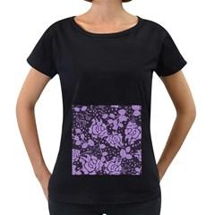 Floral Wallpaper Purple Women s Loose-Fit T-Shirt (Black)