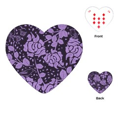 Floral Wallpaper Purple Playing Cards (Heart)